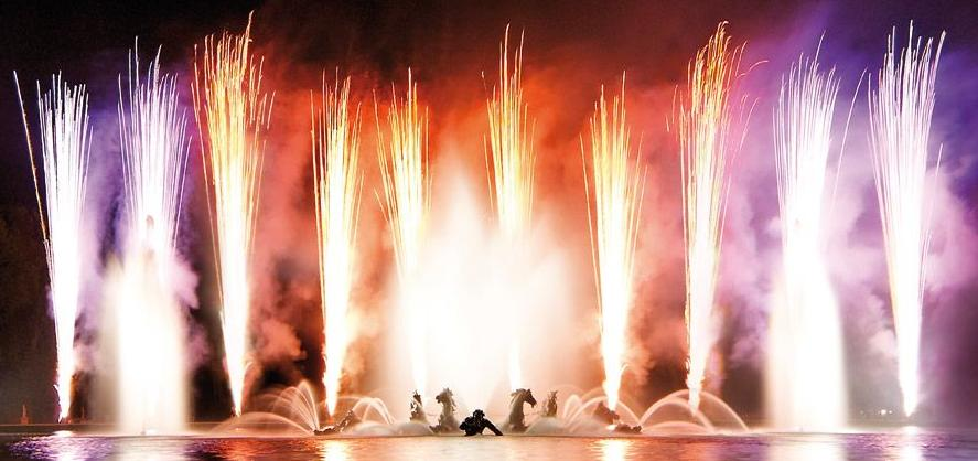 The Fountains Night Show and serenade at the beautiful Palace of Versailles in Paris