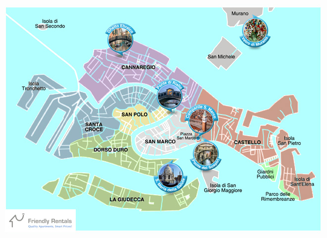 Venice Districts Map where to stay
