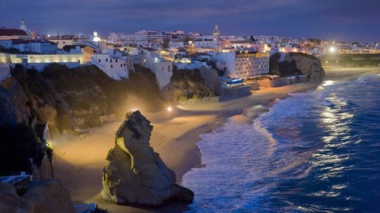 The resort town of Albufeira by night